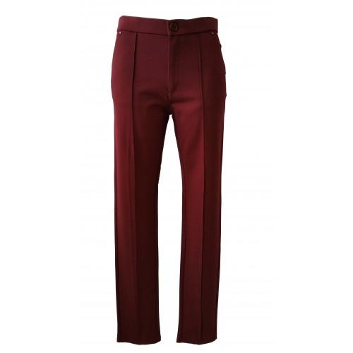 Pantalones de vestir en burdeos con stras