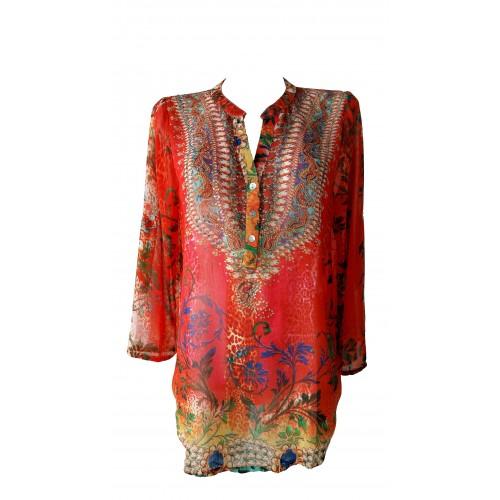 Camisa larga con estampados multicolor