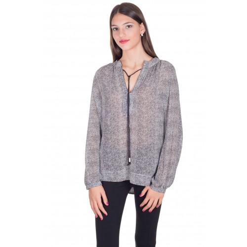 Camisa en estampado espiga tonos grises