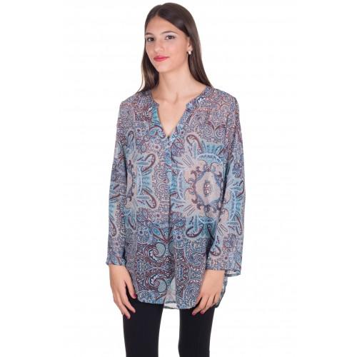 Camisa estampada turquesa con stras
