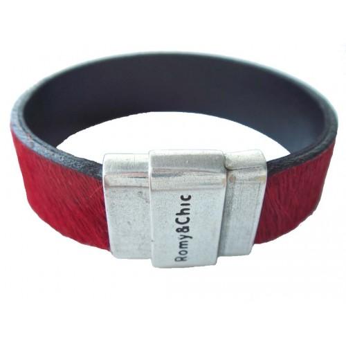 Bracelet in red pony skin leather