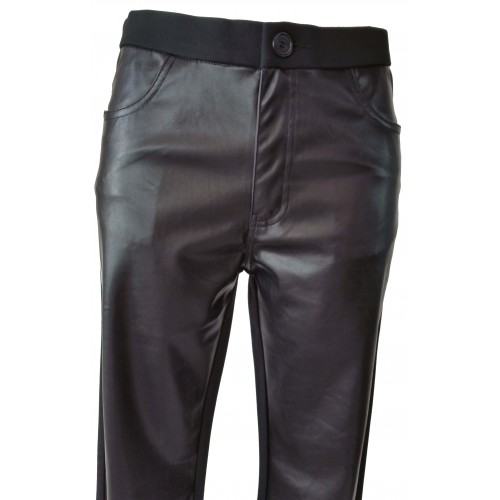 Pantalones elásticos bimaterial tejido neopreno y polipiel