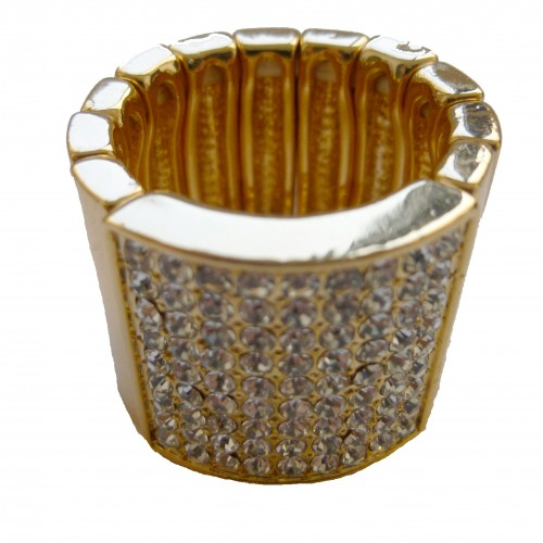 Costume ring wide gold metal and stras