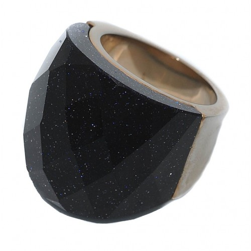 Costume Ring with blue aventurine natural stone