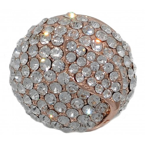 Costume Ring in rose gold plated metal stras ball