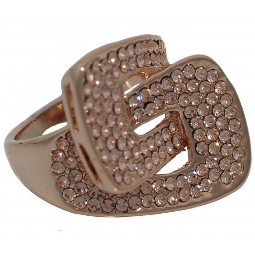 Costume Ring bow tied in pink gold metal
