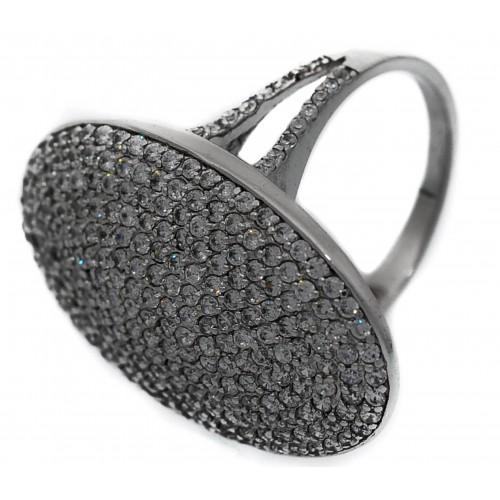 Anillo Plata oval con pave de circonita