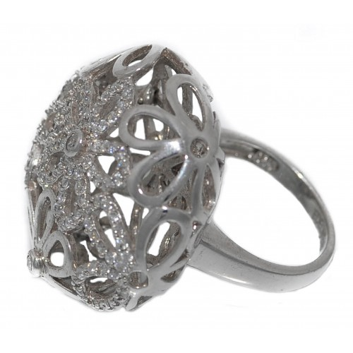 Ring in silver openwork daisy zircons