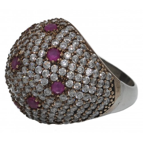 Silver ring round with red crystal dots and zircons