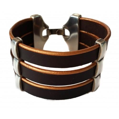 Bracelet Unisex wide rock leather