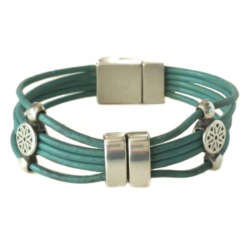 Bracelet in leather with ethnic ornament in zamak