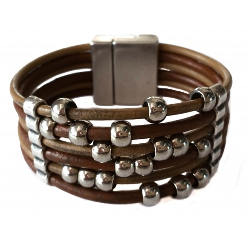 Bracelet in leather with 6 strips and plated balls