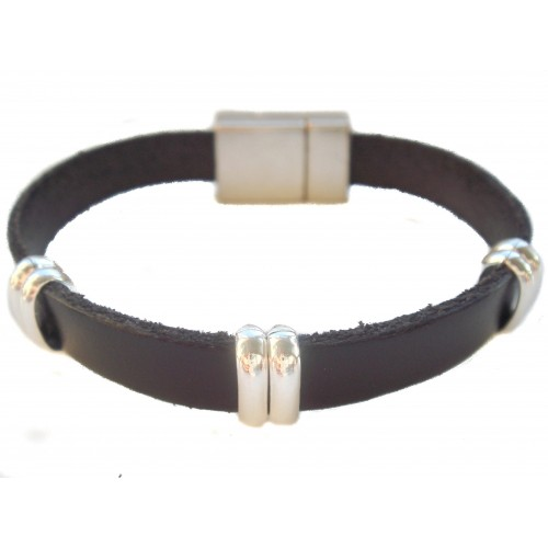 Bracelet in black unisex with elongated rings