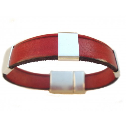 Bracelet Flat unisex leather silver ornament