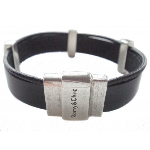 Bracelet black unisex leather and zamak ornaments