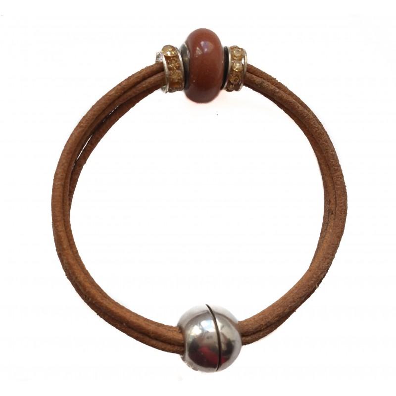 Bracelet brown leather with camel aventurine centerpiece
