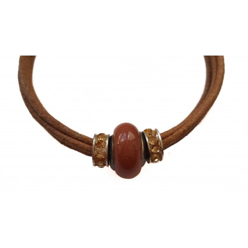 Pulsera cuero marrón con pieza central de aventurina marrón