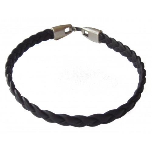 Bracelet black flat braided unisex leather