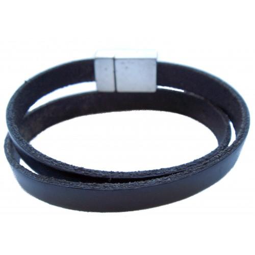 Bracelet unisex double flat leather
