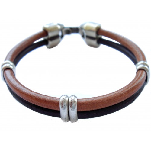 Bracelet brown unisex leather with metal rings