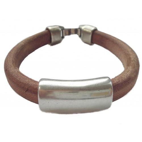 Bracelet unisex licorice leather with central zamak ornament