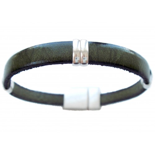 Bracelet green unisex with elongated rings