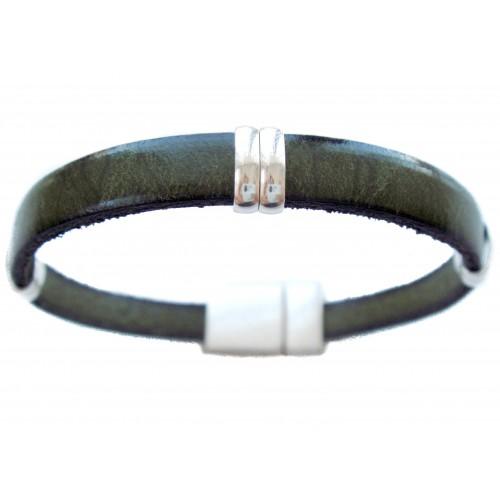Pulsera cuero unisex verde anillas alargadas