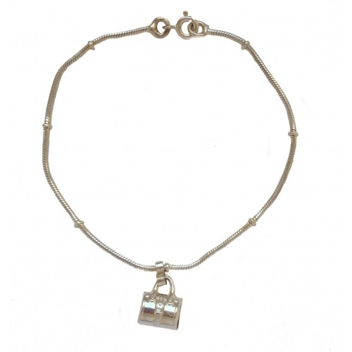 Silver bracelet with pendant charm bag