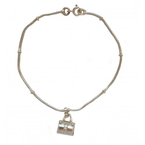Pulsera de plata con charm colgante bolso