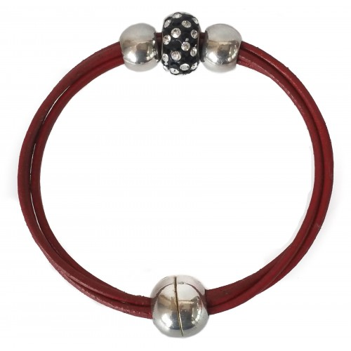 Bracelet in red leather and central dots fine crystal and side balls