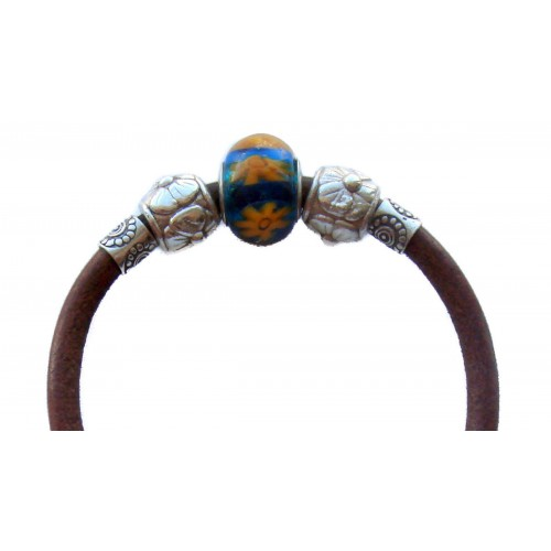 Bracelet camel leather bracelet with central Murano crystal flower