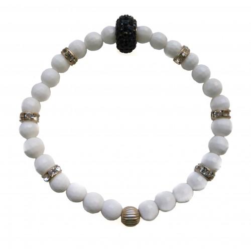 Pulsera de piedra de ágata blanco y central de cristal de plata negro