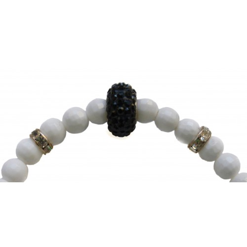 Bracelet in white agate stone and black silver central fine crystal