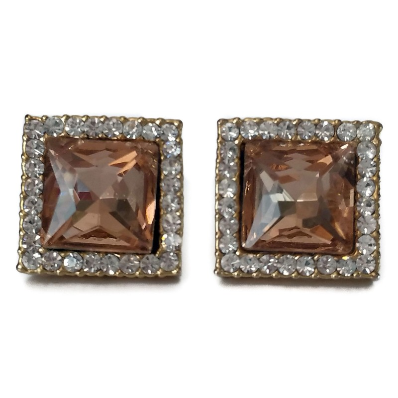 Costume Earrings gold color squared with smoked glass