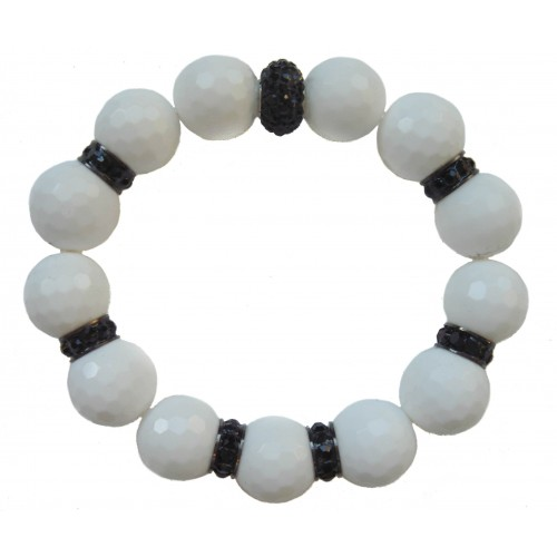 Bracelet in white jade and central black crystal and stras rondelles