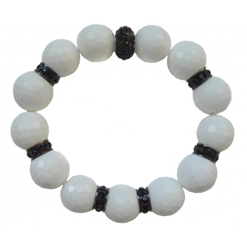 Bracelet in white jade and central black crystal and stras rondelles