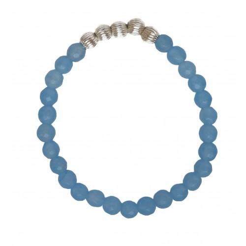 Pulsera de piedra de ágata azul facetada y bolitas plata