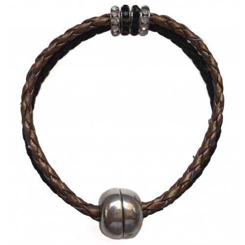 Bracelet in imitation gold and black leather and central stras rondelles