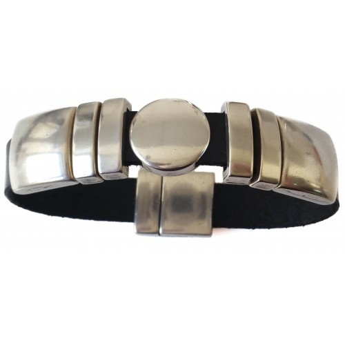 Bracelet flat unisex leather with zamak ornaments