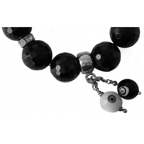 Bracelet faceted onyx and lucky eyes pendant charm