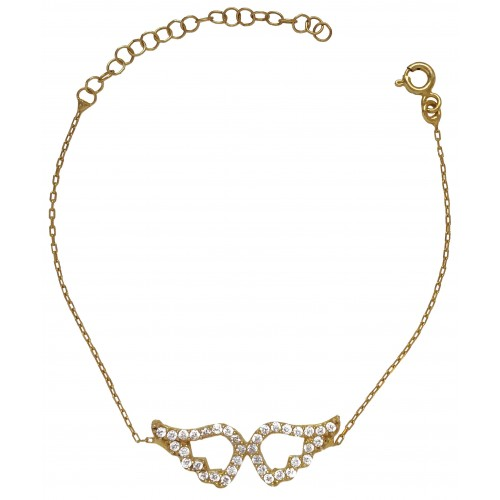 Bracelet in gold coated silver chain with wings and zircons