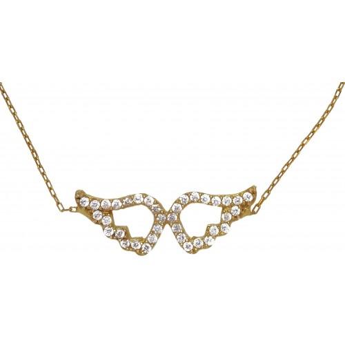 Pulsera de plata dorada de cadena con alas y circonitas