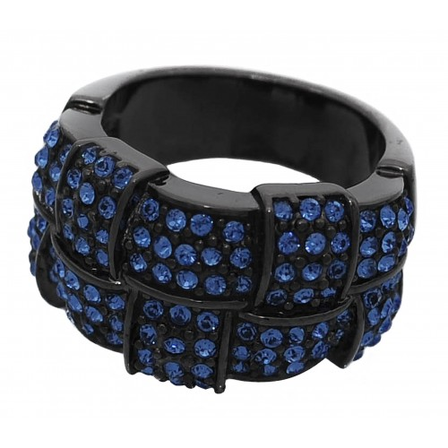 Anillo bisutería en metal negro con stras azul