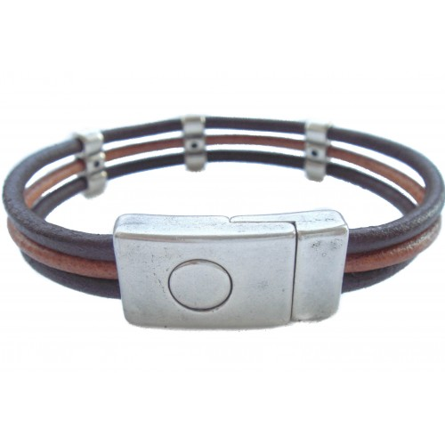 Bracelet brown unisex leather with zamak ornaments