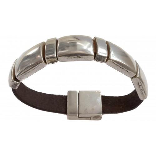 Bracelet Unisex flat leather with zamak squares