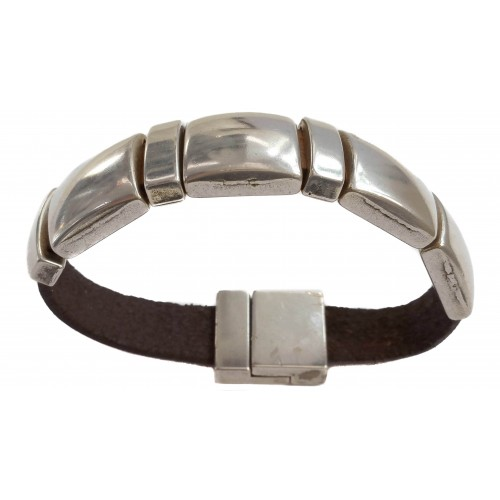 Bracelet Unisex flat leather with zamak squares