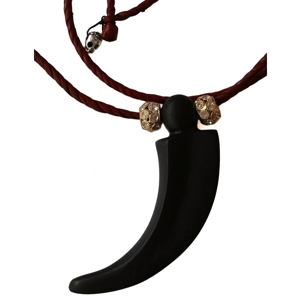 Ebony horn necklace and golden ending stras