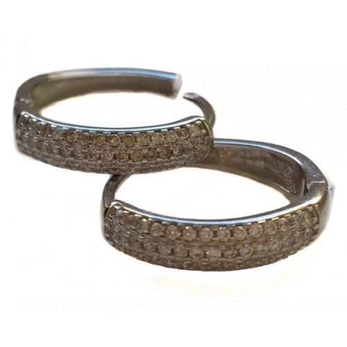 Earrings hoop in silver and zircons