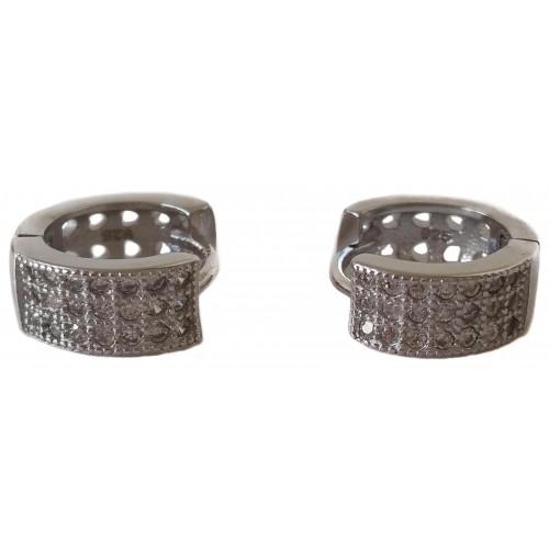 Earrings in silver hoop with 3 rows of zircons