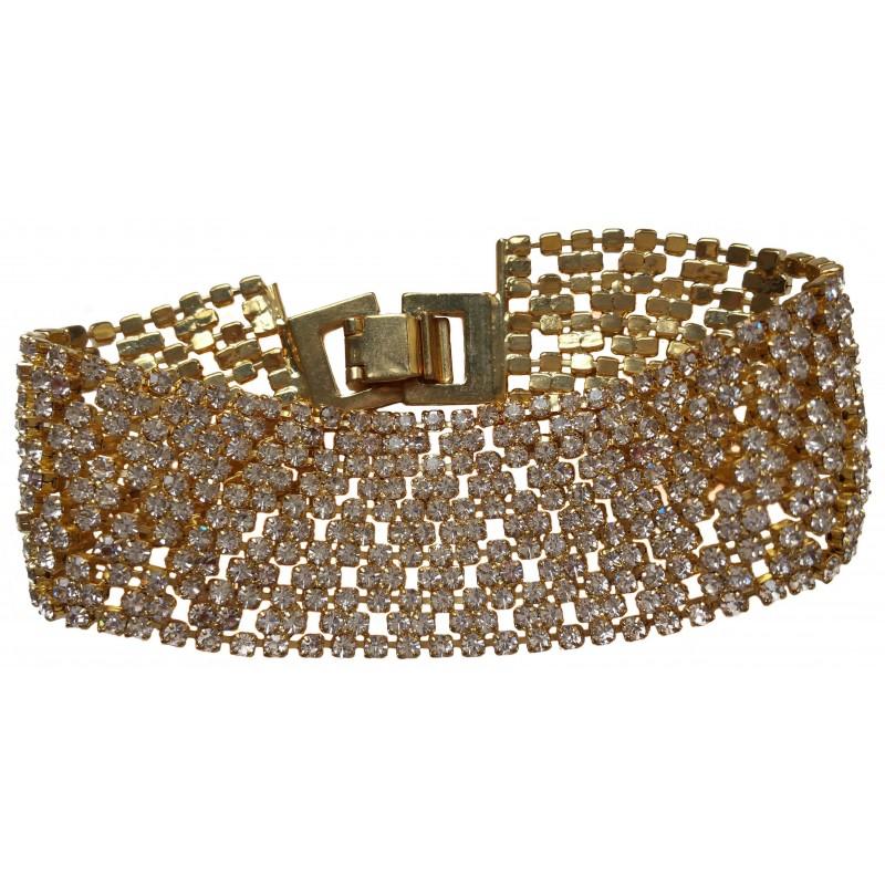 Costume cuff bracelet in gold stras